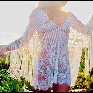 White Fringe Striped Knit V Neck Swim Cover